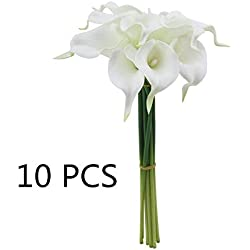 JZTRADING Flores Artificiales aromáticas Florales realistas, Flores Artificiales para bebé, Ramos de baño, Boda, decoración del hogar, 9 Unidades de Color Blanco Calla Lila