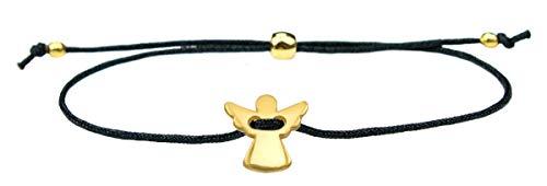Milosa Schutzengel Armband Damen gold, handmade & größenverstellbar, Glücksbringer für Frauen & Mädchen, Engel Anhänger, Armbänder Makramee:Schwarz (Gold Kind Armband)