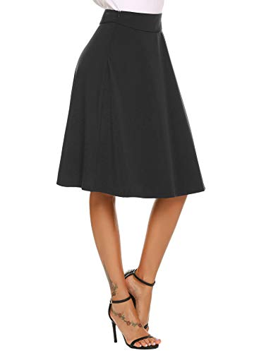 Trudge Damen Rock A-Linie Hohe Taille Midi Rock Faltenrock Swing Rock Stretchy