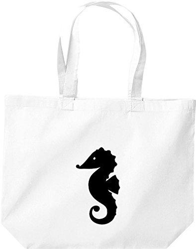 ShirtInStyle grosse Einkaufstasche Sailing Motive Seepferdchen Weiss