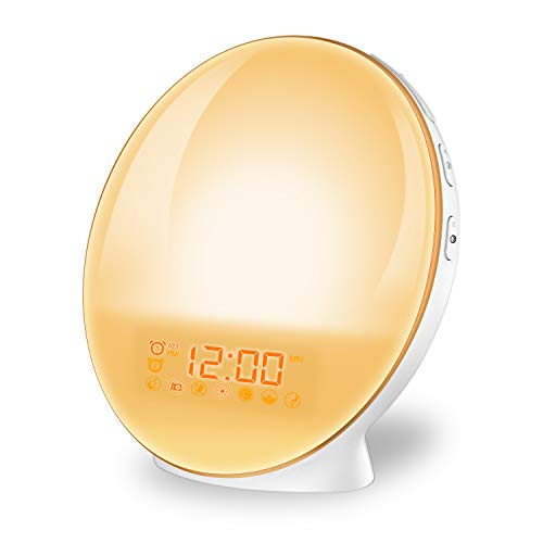 imoebel Lichtwecker, LED Wake-up Licht Wecker Wake-up Light, Digitaler Wecker, Sonnenaufgangssimulation, 7 natürliche Töne, FM Radio, Schlummerfunktion, Tageslichtwecker.