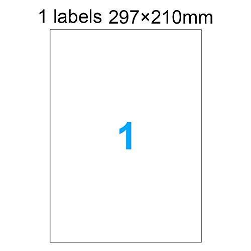 DASKOO 100 pezzi 297mm x 210mm A4 Etichette adesive & autoadesivo per stampanti laser e stampanti a getto d'inchiostro