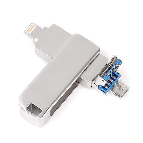 USB-Flash-Laufwerke für iPhone, iOS, externer Speicher, USB 3.0, 3-in-1-Speicherstift, für iPad, iPhone, Android, PC Silber 256 GB (Externen Speicher-laufwerk Für Ipad)