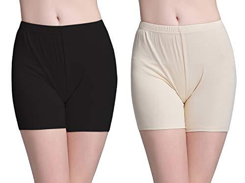 Vinconie Leggins Damen Kurz Knie Leggings Shorts Für Kleider Unterhose Boyshorts, 2 Pack: Schwarz & Beige, Medium / (42 44) (Damen-unterwäsche Kurze)