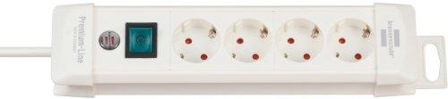 Brennenstuhl Premium-Line, Steckdosenleiste 4-fach (Steckerleiste mit Schalter und 1,8m Kabel - 45° Winkel der Schutzkontakt-Steckdosen) Farbe: weiß