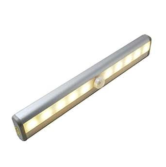 Moscany Portable 10 LED sans fil à détecteur de mouvement LED Veilleuse escaliers/jaune clair