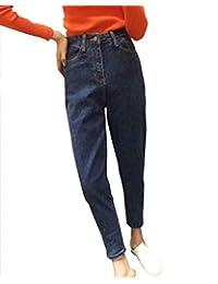 0e15b165e2eb Damen Jeans Skinny High Waist Boyfriend Löcher Jungen Chic Jeanshosen  Button Vordertaschen Straight Leg Denim Hosen