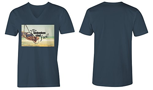 Die Gedanken Sind Frei 5 ★ V-Neck T-Shirt Männer-Herren ★ hochwertig bedruckt mit lustigem Spruch ★ Die perfekte Geschenk-Idee (03) dunkelblau