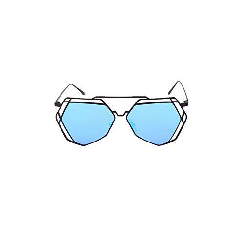 TrifyCore Lunettes de soleil femmes Geometry Design Femmes métalFrame miroir Lunettes de soleil Lunettes Protection UV Lunettes Cat Eye Noir Frame Bleu Lens