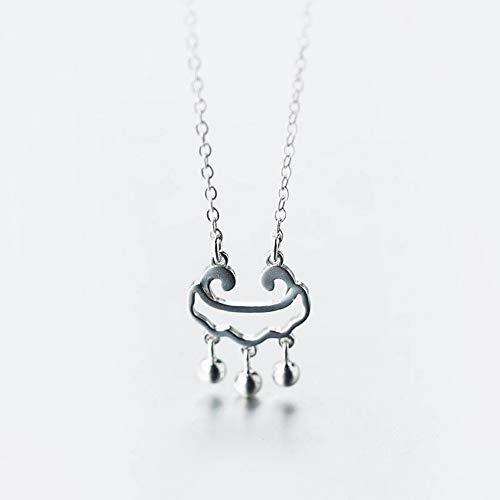 SHOUSHI Frauen Western Trend Fashion Seiko Halskette S925 Silber Long Life Lock Halskette Anhänger Weiblich Bell Fringe Halskette Mode Kurze Schlüsselbein Kette, S925 Silbersatzkette -
