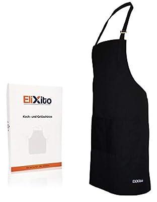 EliXito Kochschürze/Küchenschürze 100% Baumwolle - pflegeleicht und belastbar - Auch perfekt als Grill- und Backschürze geeignet