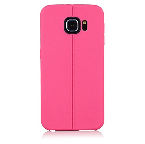 "ImagineDesign(TM) Premium Textured ""Stitch Line Collection"" Matte Finish Back Case Cover For SAMSUNG GALAXY S6 (Passion Fruit Pink)"