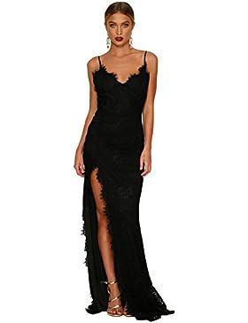 sexy elegante abito cerimonia da donna con spacco,vestito lungo da party e festa, schiena nuda e spalline regolabili.
