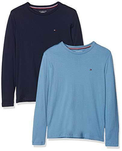 Tommy Hilfiger Jungen Schlafanzugoberteil 2P Tee LS, 2er Pack, Blau (Blue Heaven/Navy Blazer 001), 140 (Herstellergröße: 8-10)