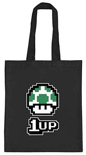 Geek Nerd Gamer Pixel Jutebeutel natur Retro Gamer 1 Up Pilz schwarz natur