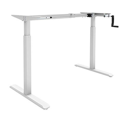 Verstellbarer Tisch (EXETA ergoK höhenverstellbarer Schreibtisch/Computertisch (Version 2019) manuell mit Eleganter Kurbel, höhenverstellbares Tischgestell - Passend für Alle gängigen Tischplatten Weiss)