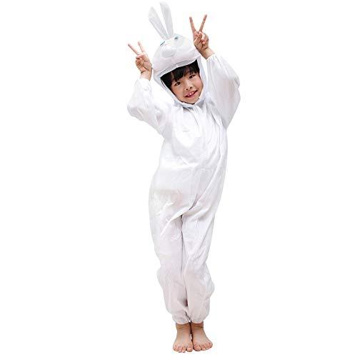 LSERVER Jungen und Mädchen Tier Performance Kostüme Kinder Festival Bühne Kostüme Tierpyjamas, Weißes Kaninchen, ()