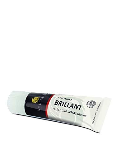 Solitaire Brilliant Schuhcreme in vielen Farben für Glattleder 75 ml + Rema Ersatzschwamm zum Aufschrauben (Silber 62)