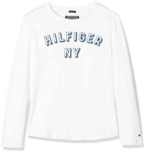 Tommy hilfiger essential big logo tee l/s, t-shirt bambino, bianco (bright white 123), 128 (taglia produttore: 8)