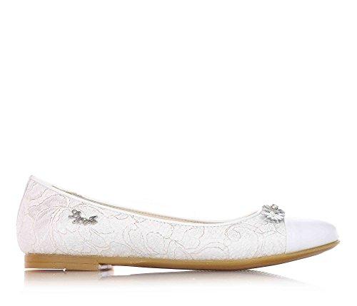 LIU JO - Ballerina bianca, in pizzo e pelle, strass, cerimonia, alla moda, firmata, Donna, ragazza e ragazze, Bambina-37