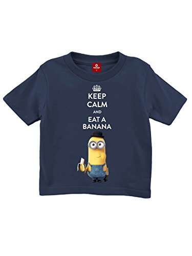 d Eat A Banana Kinder-Shirt navy 104 (Minion Worte)