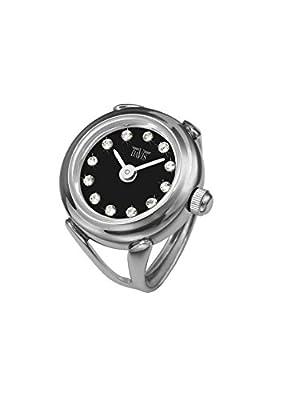 Davis 4173 - Reloj anillo ajustable para mujer, esfera Negra con cristal Swarovski, cristal de zafiro de Davis
