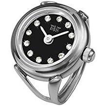 Davis 4173 - Reloj anillo ajustable para mujer, esfera Negra con cristal Swarovski, cristal de zafiro