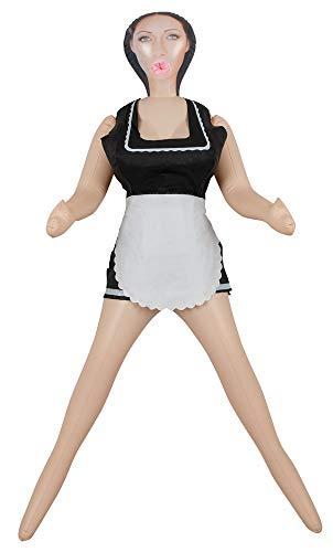 You2Toys My French Maid - lebensechte Liebespuppe mit schwarzem Haar, aufblasbare Sexpuppe mit 3 Öffnungen für gefühlsechten Sex, Hausmädchen Love Doll mit braunen Augen