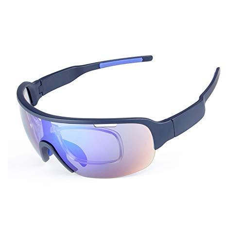 Adisaer Sportsonnenbrille Herren Sportbrille Mit Wechselgläsern Halbrahmen 5 Stück Sport Sandproof Polarisator Herren Und Damenmode Multifunktions Reitbrille Dark Blue Damen Herren