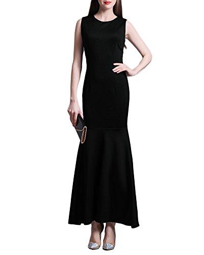 Femmes Robe Queue de Poisson de la Hanche Sans Manches Robe de Soirée Plaine Robes Noir