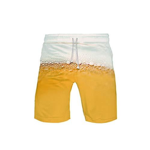 WOZOW Cargo Shorts Kurze Hose Damen Herren Loose Oktoberfest Bierfest Print Bedrucktes Druck Lustig Kostüm Midi Freizeithose Stoffhose Casual High Waist Beach Trousers (5XL,Sahne)