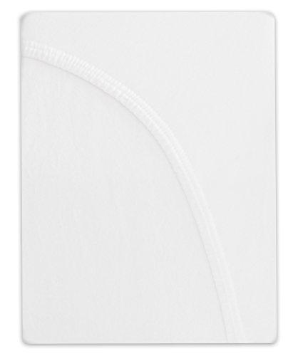 Farbenfrohes Jersey Spannbettlaken Spannbetttuch Bettlaken aus hautsympathischer 100% Baumwolle (120 x 200 cm, Weiß) - 2