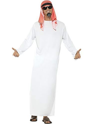 Fancy Ole - Herren Männer Männer arabischer Scheich Araber Saudi Kostüm mit Langer Tunika & Kopfbedeckung, perfekt für Karneval, Fasching und Fastnacht, L, - Arabische Scheich Kostüm Kopfbedeckung