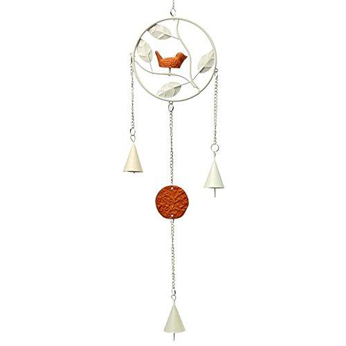 Winterworm europäischen Stil Vintage Eisen Harz Vogel Windspiel für Wand Fenster Tür Hängende Dekoration Ornaments Home, weiß, Rund