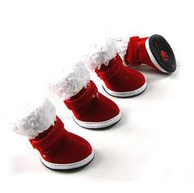 H&l Sportlichen Schuh (H:oter christmas red Stiefel mit warmen Nickerchen, 4er-Set, Outdoor-Walking, Heimtierbedarf, Weihnachtsgeschenk, Preis / St¨¹ck - XS)