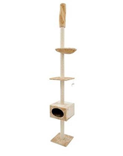 3Level Platzsparer Celing High Katze Baum–inklusive Wandhalterung für Extra Stabilität. Passt Deckenleuchte mit einer Deckenleuchte Höhe von 245cm bis 260cm. Bietet Viel Places zu spielen, Relax und Kratz
