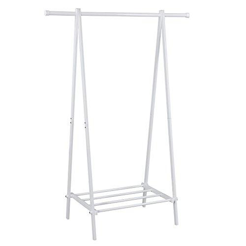 Songmics Metall Kleiderständer Garderobenständer Standgarderobe Höhe 150 cm, Weiß LLR11W
