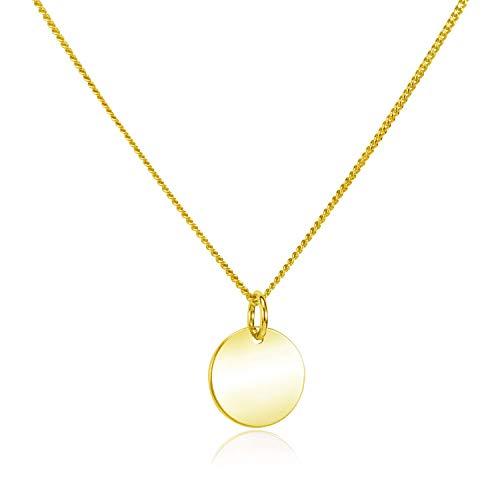 MATERIA Gold Kette mit rundem Plättchen Anhänger - Damen Halskette 925 Silber vergoldet 42+4cm CO-27-Gold