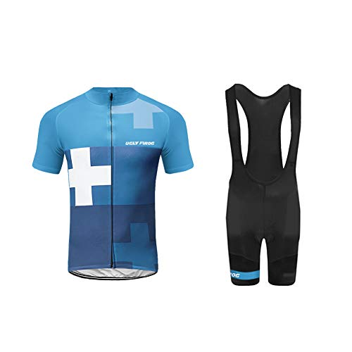 Uglyfrog HDX08 2019 MTB Neu Herren Radtrikot Set, Atmungsaktiv Quick-Dry Kurzarm Radsport-Shirt + Gel Gepolsterte Shorts