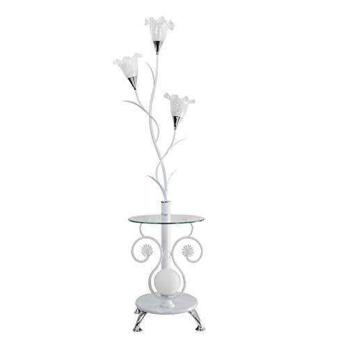XUANLAN Wohnzimmer Schlafzimmer Glas Lampenschirm mit Tisch Stehlampe, Nordic Einfache Moderne Bedside Studie Sofa Vertikale Led Stehleuchte (Color : White) - Glas-modernen-sofa-tisch