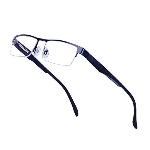 Lesebrillen für Herren +3.5 (70-74 Jahre) Leicht Halbrand Rechteck Metall Schwarz Rahmen Klare Linse Presbyopische Gläser mit Etui