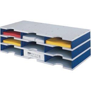 styrodoc Sortierstation trio mit 9 Fächern/268030338 723x331x223mm grau/blau