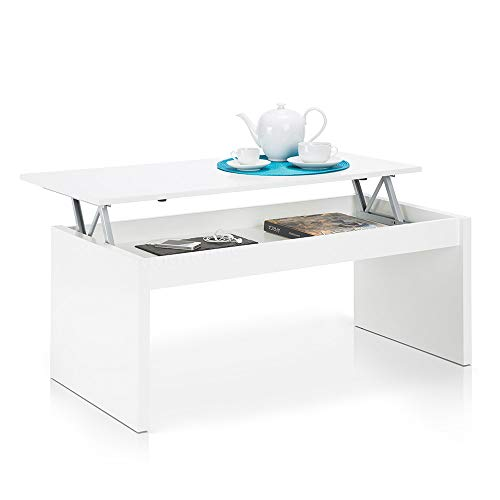 Due-home Table Basse Blanc brillant Avec Plateau Relevable