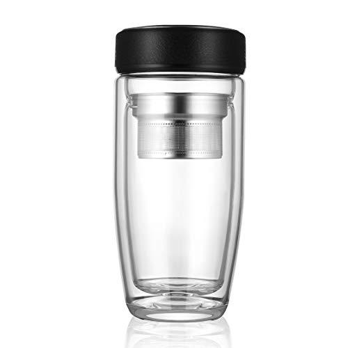 LouiseEvel215 Doppelschichtglas Kaffee Tee Wasserflasche Tasse Hitzebeständige Isolierte Borosilikatglas Tee Filter Business Office Flasche