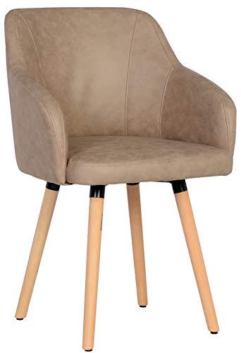 SixBros. 7001X/7684 Esszimmerstuhl aus Kunstleder - Polsterstuhl mit Armlehne - Polstersessel in beige - Stuhl für Esszimmer Wohnzimmer Küche