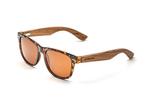 TORGOVE ORIGINAL Wayfarer Sonnenbrille mit Bambus Bügeln - polarisiert UV400 - Holz - Retro Vintage/Damen/Herren/Unisex (Mehrfarbig)