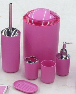 6PCS Kunststoff Badezimmer Zubehör Set Luxus Bad Zubehör Bad Set Lotion Flaschen, Zahnbürstenhalter, Zahnputzbecher, Seifenschale, WC-Bürste, Trash können, Müll (Pink)