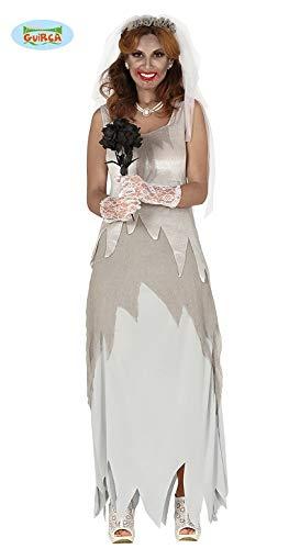 Guirca Kostüm Halloween Braut Cadavere Horror Adult Größe M 38-40, Farbe grau, 88348 (Halloween Braut Animierte)