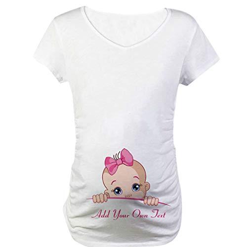 Snakell Mutterschaft T-Shirt Damen Sommer Kurzarm Umstandsmode T-Shirts Cute Mutterschaft Kleidung Lustige Witzig Spähen Baby Gedruckt Baumwolle Schwangerschaft Tops -