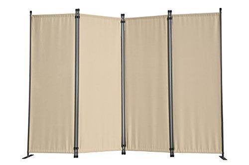 Angel Living Paravant 4tlg Sichtschutz,Faltbildschirm Raumteiler Sichtschutz aus Stahl und Polyester (Beige) - Dekorative Bildschirme Als Raumteiler